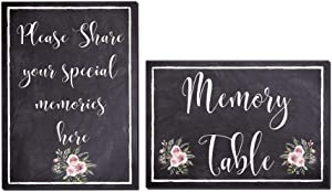 Elcer Funeral Memory Table Sign | Share Your Special Memories Sign | Set of 2 Signs for Celebration of Life Funeral Memorial | Table Decoration Cards | Funeral Guest & Book Sign (Black (Chalk))