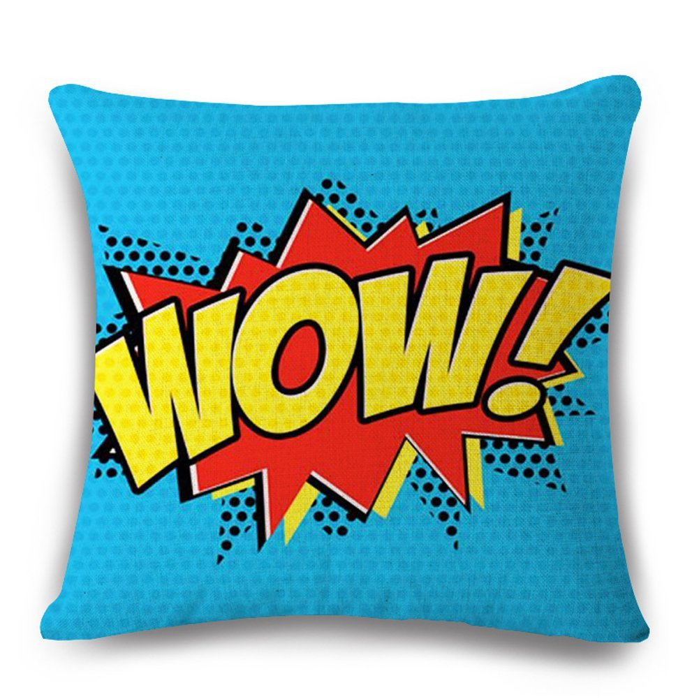 Easternproject Super Hero Throw Pillow Case Cushion Cover Comic Book Exclamation Pattern Decorative Square 18x18 Inch Pillowcase Best Gift (WOW)