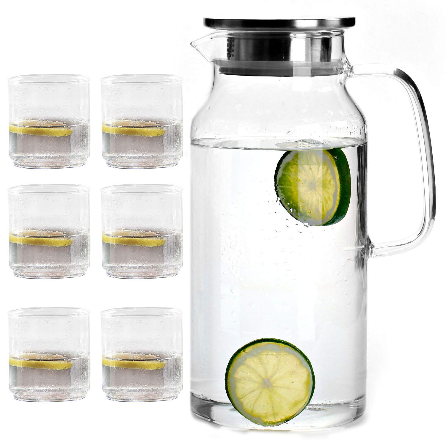 Cupwind Explosion-Proof Heat Resistance 55 oz Borosilicate Glass Water Carafe Pitcher with Stainless Steel Infuser Lid x Set of 6 Glass Beer Drinks cups 8.5 oz