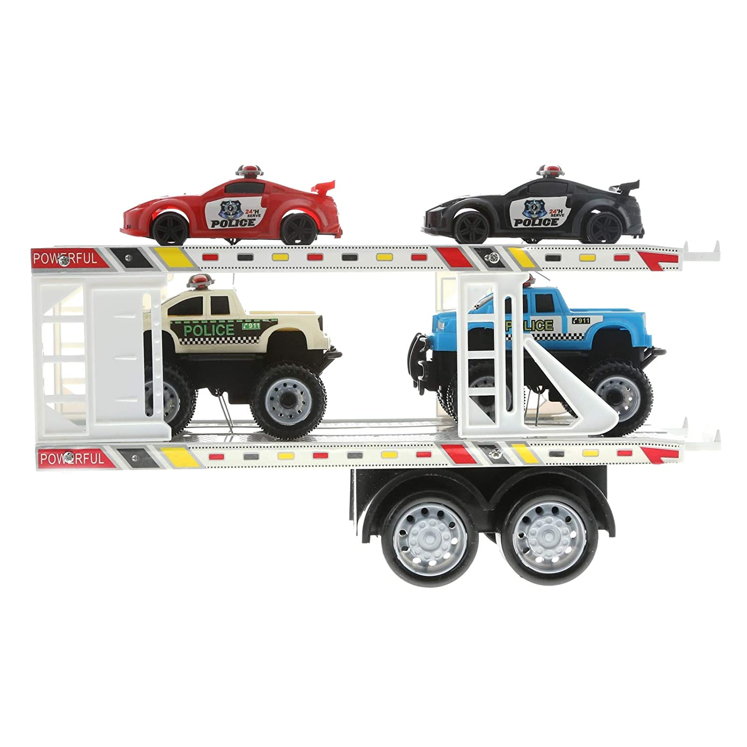 High PoweROT Truck  Strong Power Truck 4 Series Auto Carrier W 4 Truck Cars Toy for Kids (Farbes May Vary) by MK Trading 25879e