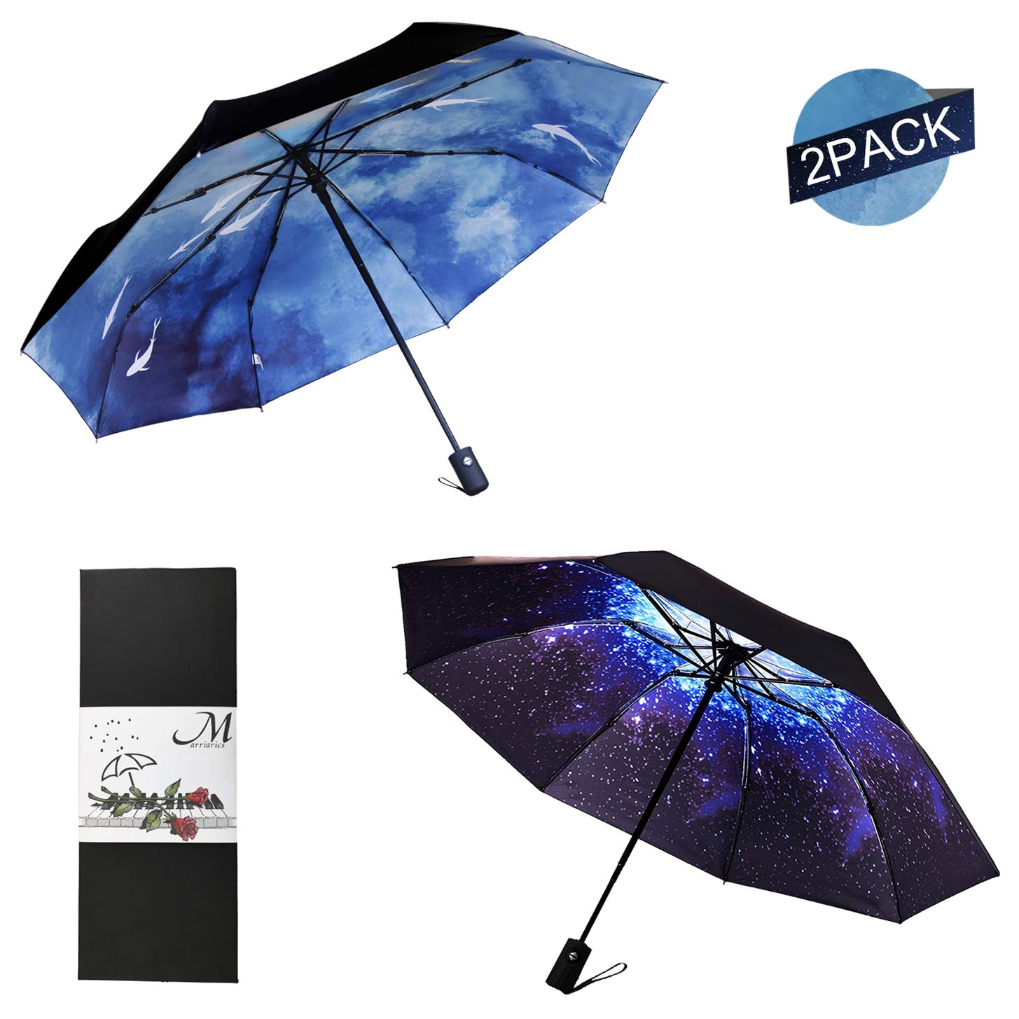 Marriarics Compact Travel Umbrella Windproof, A Set of Starry Sky and Ink and Wash, Nice Package for Gift.