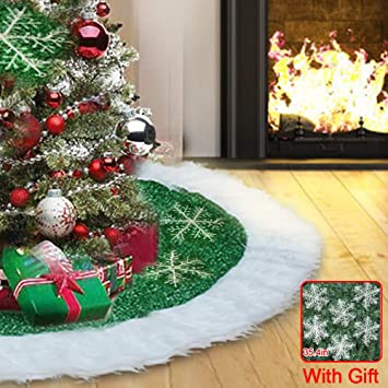 cotify christmas tree skirts 36 inch green and white plush faux fur luxury tree skirt