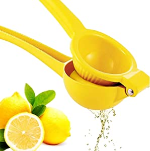 Premium Quality Metal Lemon Squeezer, Lime Juice Press, Manual Press Citrus Juicer For Squeeze The Freshest Juice - Yellow (A-Yellow)