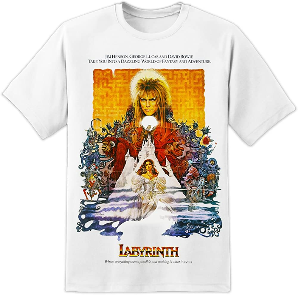 Labyrinthe T-shirt Homme David Bowie 80 S Film Tee Top Unisexe Affiche Film Fantasy