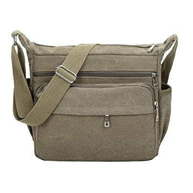 3c108f30082b0 Rrimin Men s Travel Solid Retro Shoulder Canvas Casual Crossbody Messenger  Bag (Army Green)