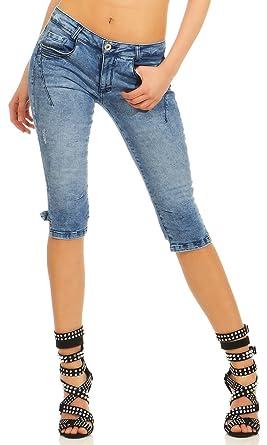 Sublevel Damen Capri Jeans Shorts LSL-336 Slim Bermuda dreiviertellang  Absteppungen  Amazon.de  Bekleidung 238b7ed238