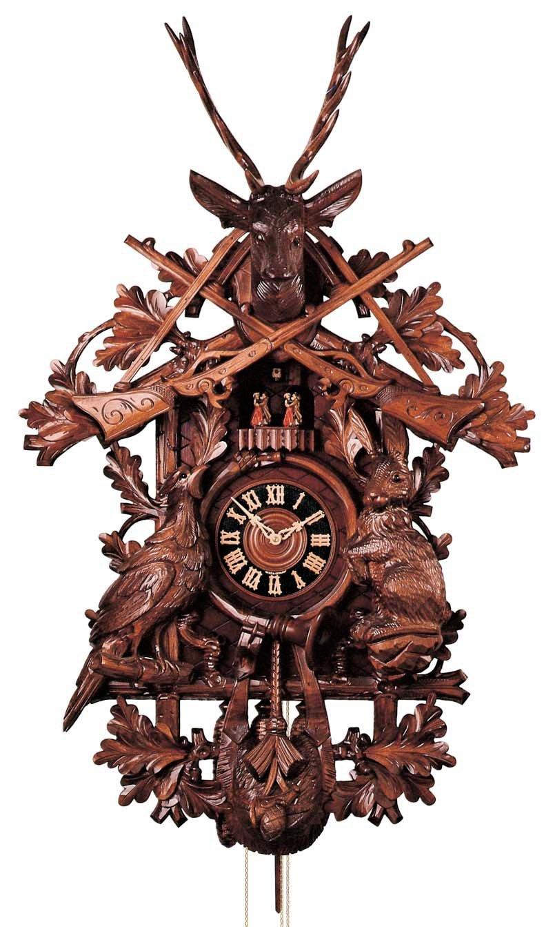 Cuckoo Clock - 8-Day Hunter with Rifles, Horn, Deer & Animals - HÖNES