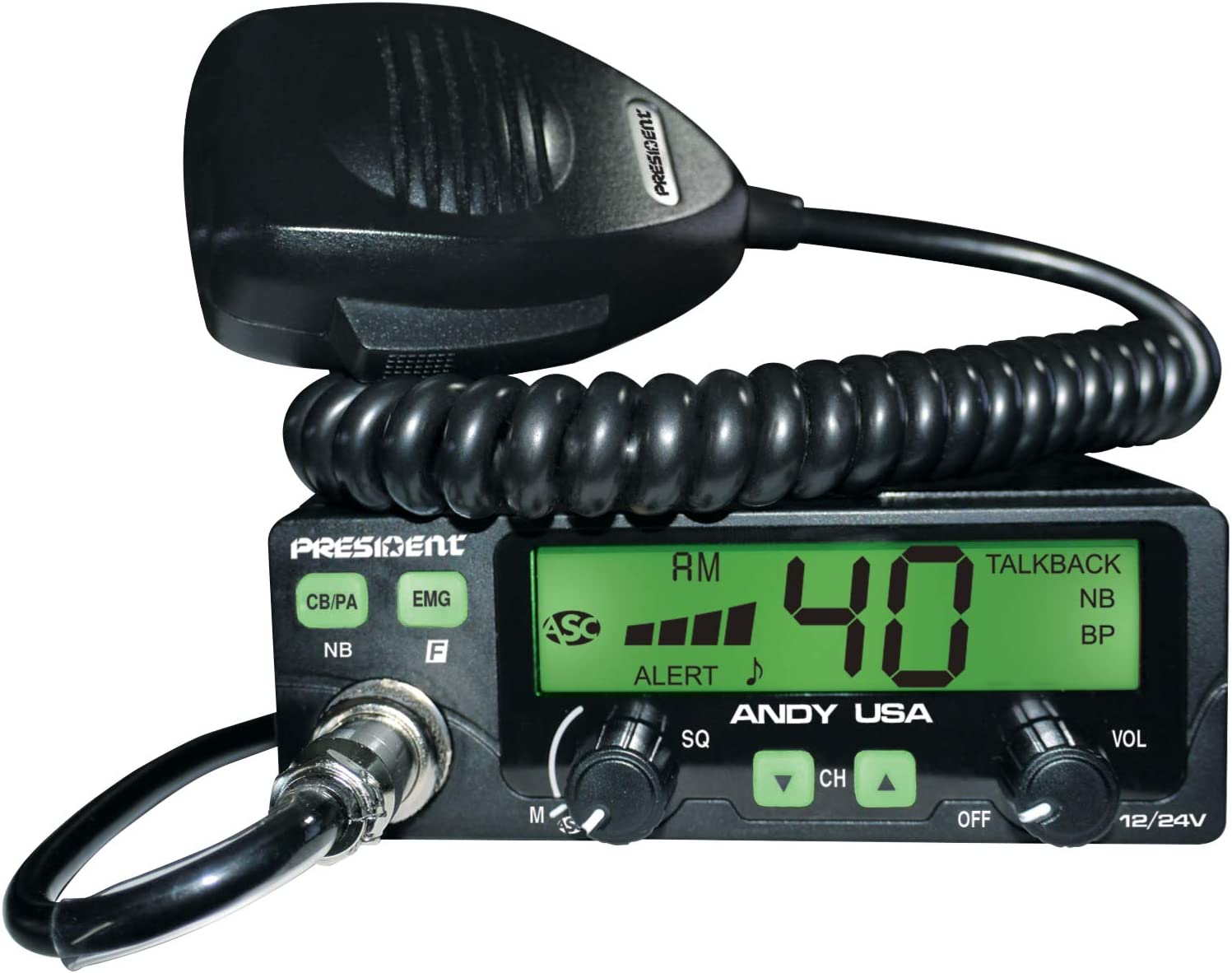 President Andy 12//24v CB Radio w//7 Color LCD Display Small Form Factor Compact