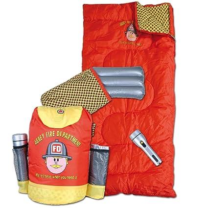 Abbey Fire Department - Juego de saco de dormir, almohada hinchable, linterna y mochila