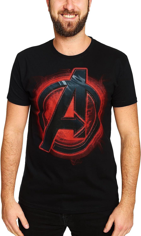 Avengers Ultron Edad de la Camiseta del Logotipo del Rojo del Fuego impresión del Logotipo de la Camisa Licencia de Marvel superhéroes Negro: Amazon.es: Ropa y accesorios