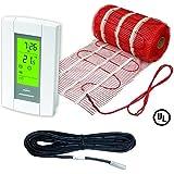 Electric Radiant Floor Heat Heating System 50 Sqft Mat with Aube Digital Floor Sensing Thermostat