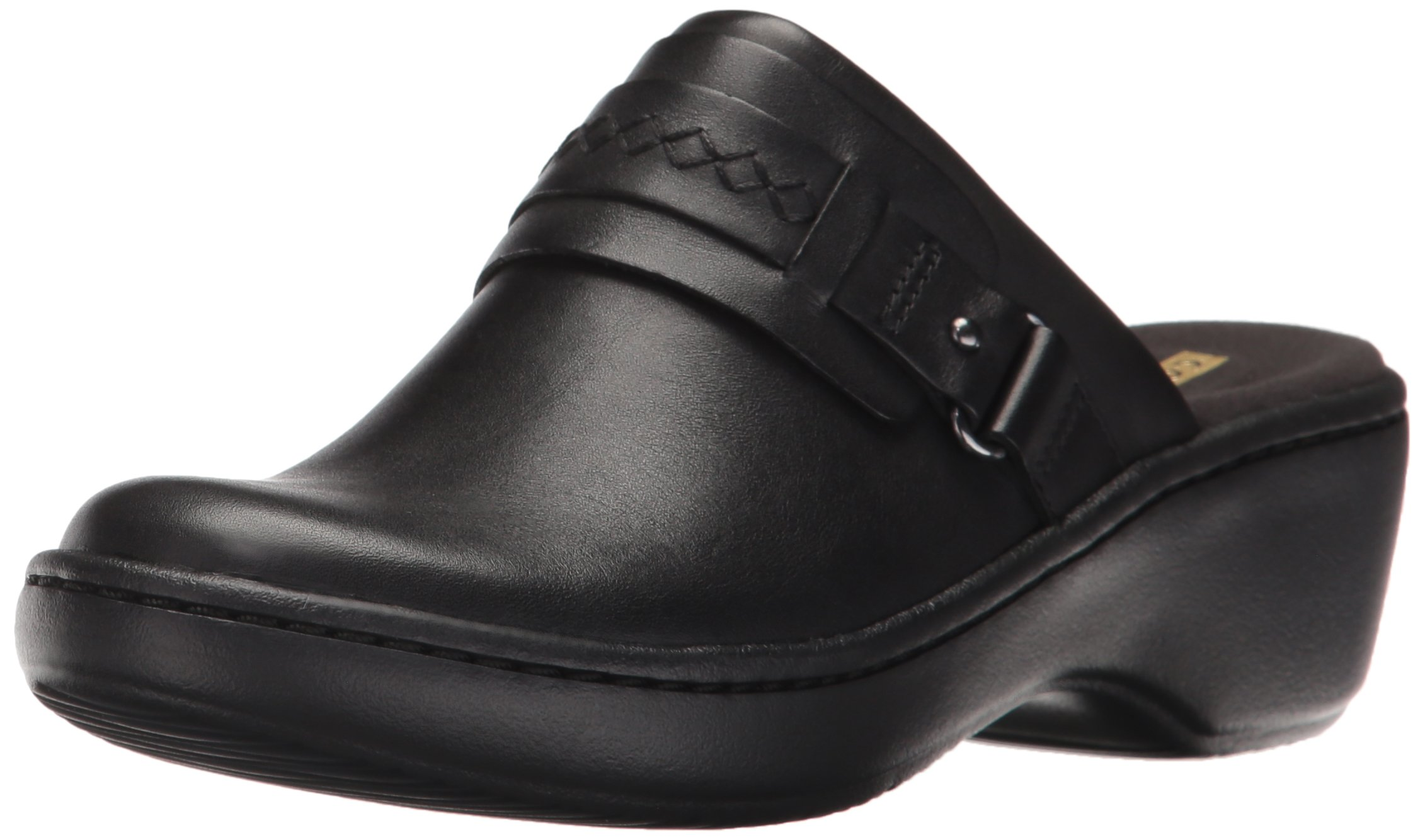 CLARKS Women's Delana Amber Mule, Black Leather, 9.5 M US