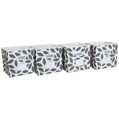 MAX Houser Fabric Storage Bins Cubes Baskets Containers with Dual Plastic Handles for Home Closet Bedroom Drawers Organizers, Foldable, Set of 4 (Grey)