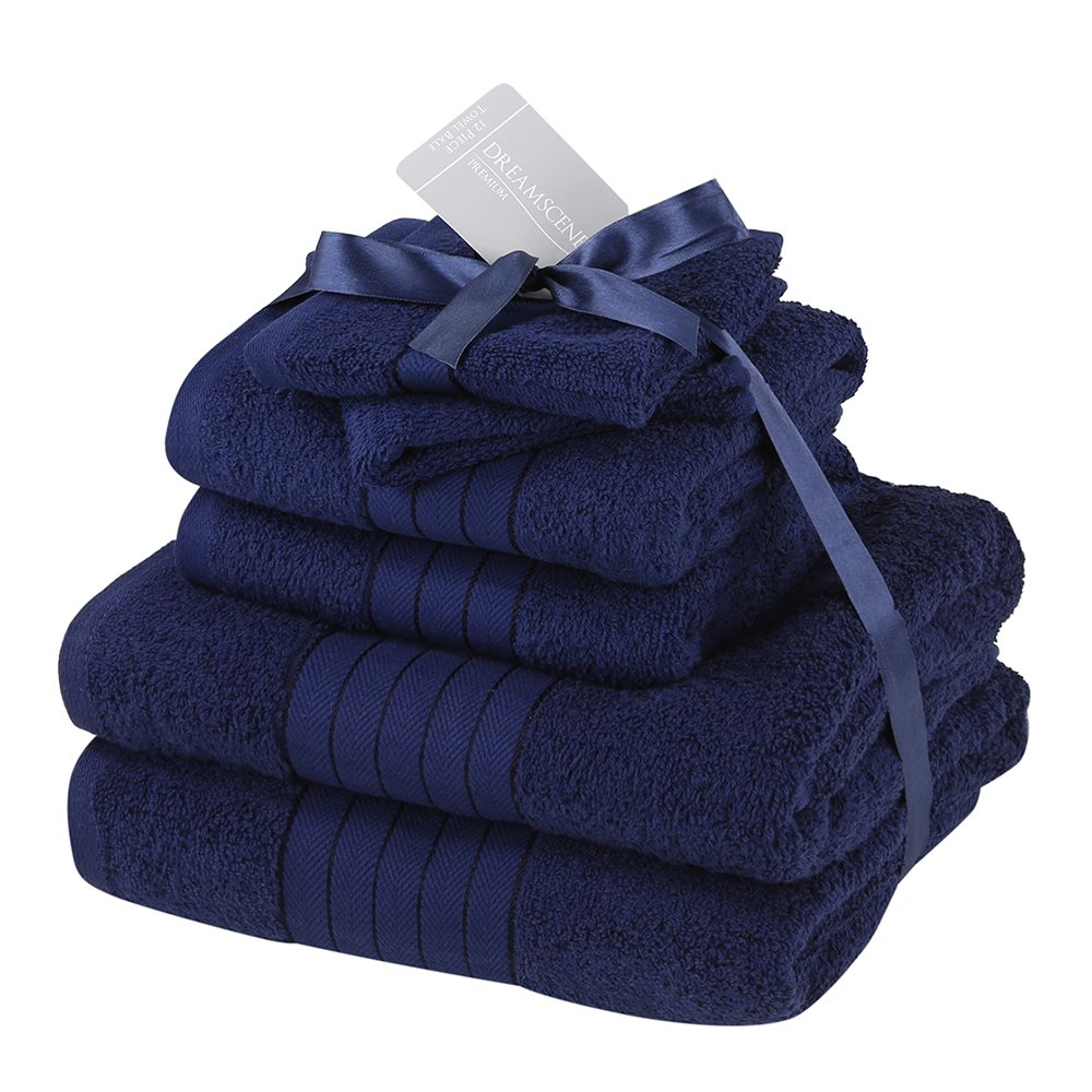 Dreamscene Luxury Supersoft 6 Piece Hand Bath Towel Bale 100% Egyptian Cotton - Navy Blue TB6NV485