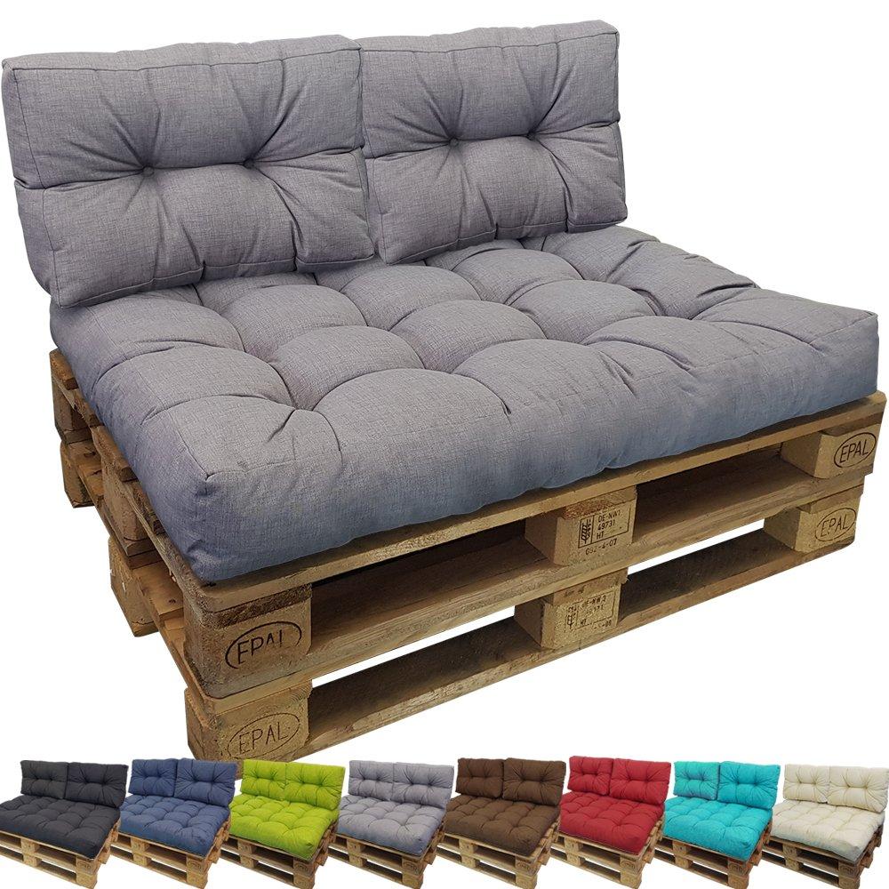 Proheim Outdoor Palettenkissen Tino Lounge Set - Sitzkissen 120 x 80 x 18 cm + 2 Rückenkissen 60 x 40 x 10-20 cm - Lounge Palettensofa Indoor   Outdoor schmutz- und wasserabweisende Palettenauflage, Farbe Grau