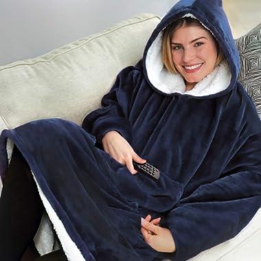 Ontel Huggle Hoodie   Hooded Robe, Spa, Bathrobe, Sweatshirt, Fleece, Pullover, Blanket, Mens, Womens   As Seen on TV (Blue)