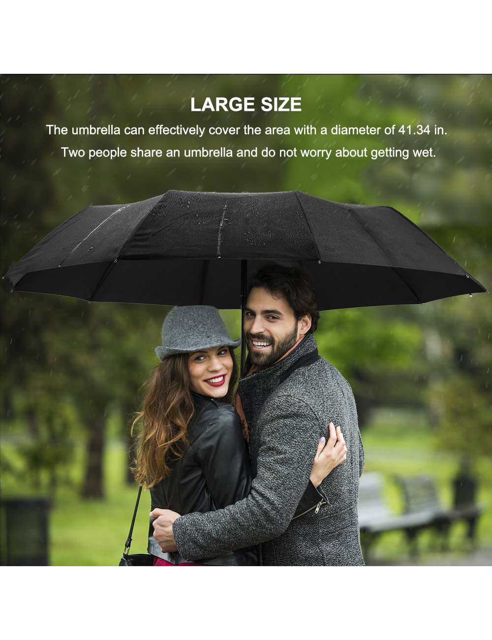 Beownwear Travel Umbrella Windproof Folding Automatic Umbrellas 10 Ribs(Black) by Beownwear (Image #3)