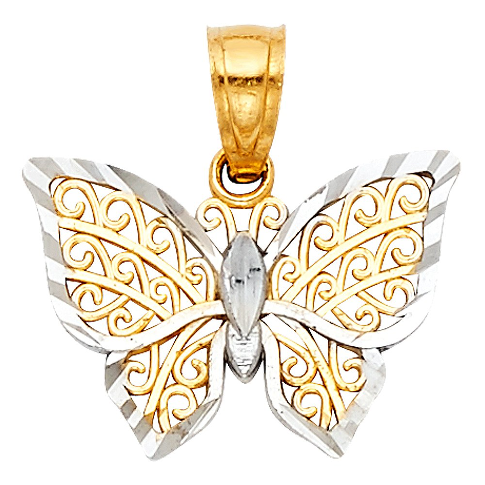 12mm x 15mm Million Charms 14k Two-tone Gold Small Filigree Butterfly Charm Pendant