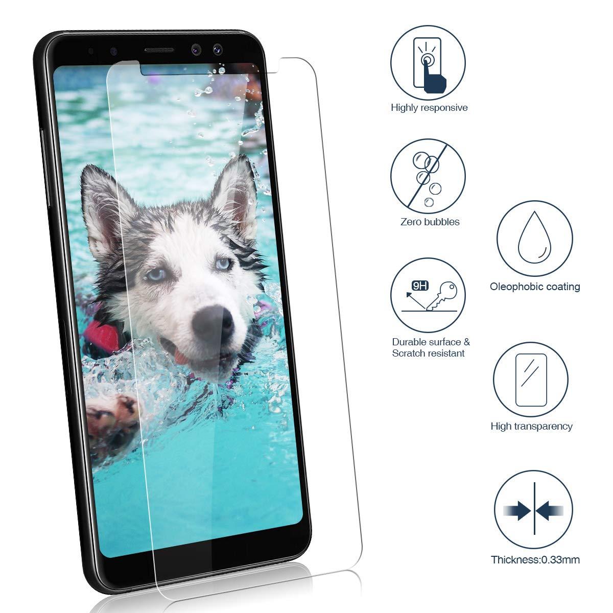 CRXOOX 2-Pack Cristal Vidrio Templado para Samsung A8 2018, Transparente Protector de Pantalla, Explosiones Resistente, Sin Burbujas, Anti Dactilares, ...