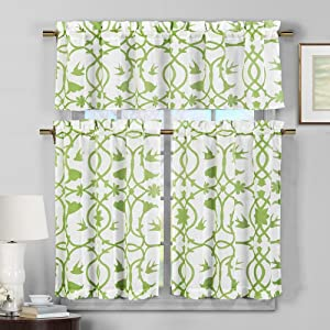 Duck River Textile Dawn Faux Linen Floral 3 Piece Kitchen Window Curtain Tier & Valance Set, 2 29 x 36 & One 58 x 15, Apple Green