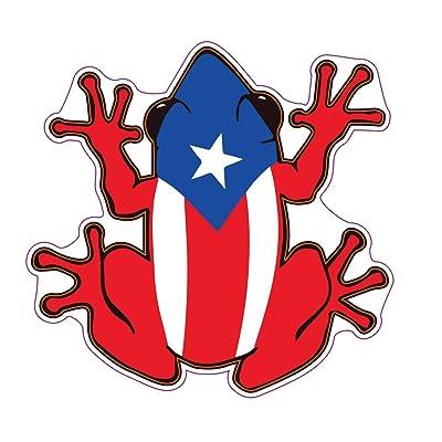 WickedGoodz Puerto Rican Flag Frog Vinyl Decal - Tree Frog Bumper Sticker - Proud Puerto Rico Gift: Automotive