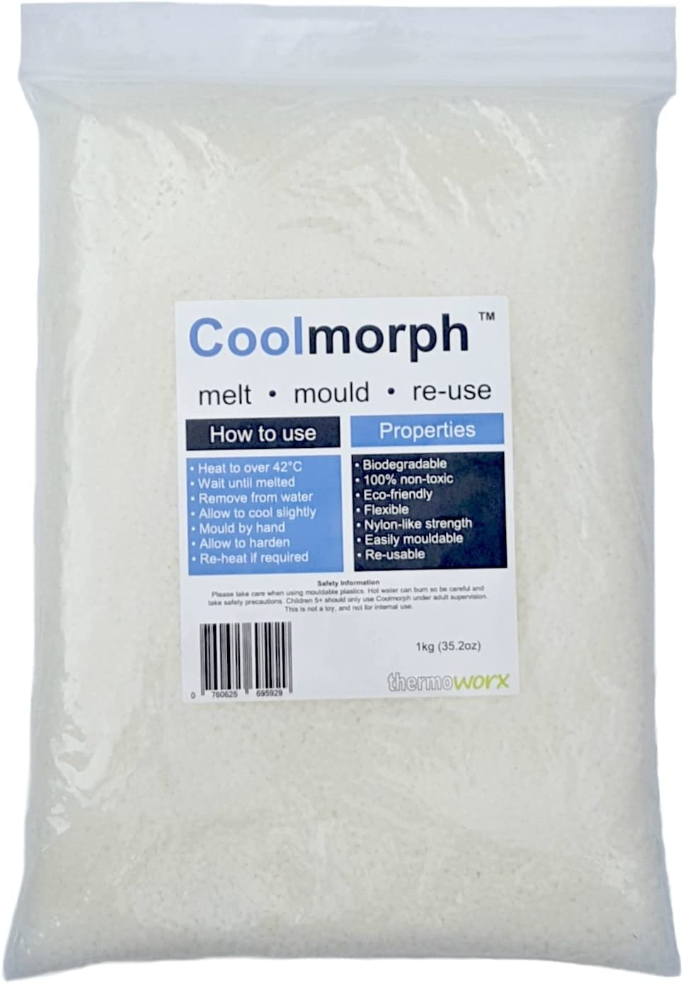 Thermoworx Coolmorph™ 1kg | Lower melting point hand mouldable eco-friendly thermoplastic. Reusable unlimited uses - DIY, Crafts, Repairs, Moulds, Casting, Modelling, Grips, Prototypes. TOP QUALITY!