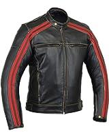Bikers Gear UK Blouson style Retro Café Racer Bonnie 100% cuir de Bovin noir avec ligne Rouge Oxblood sur les manches