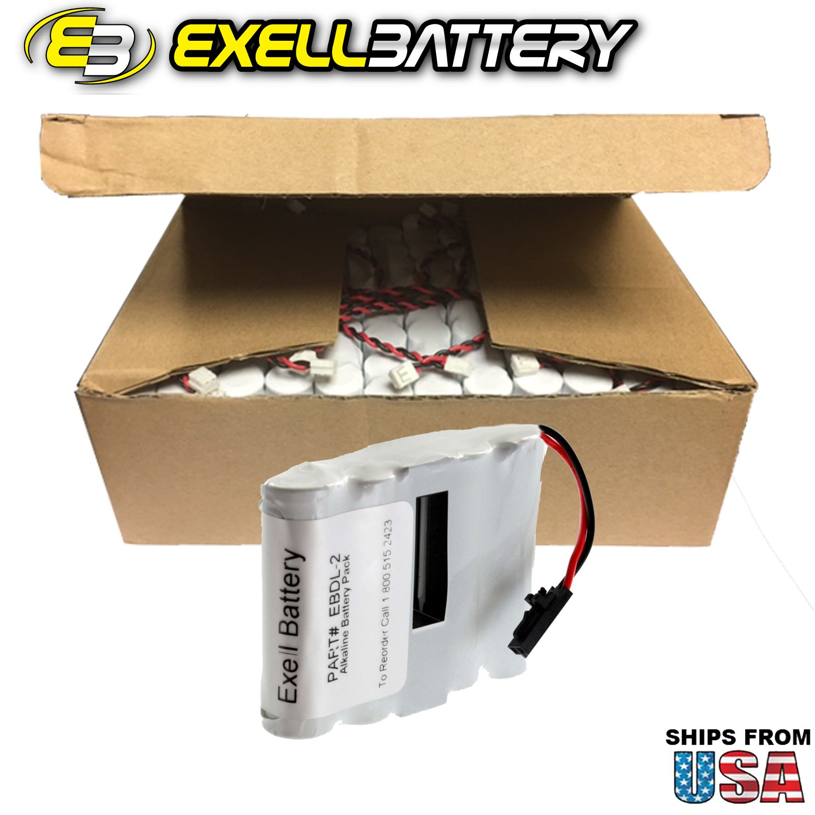 72x Exell Battery Door Lock 6V 4-Cell Battery Pack Fits Saflok 54990 Replaces HTL1 , 884955, EDL4AS, HTL17, IC, Interstate DRY5565, Passport, PMI54990, S54490, SL2500, System 5000 FAST USA SHIP