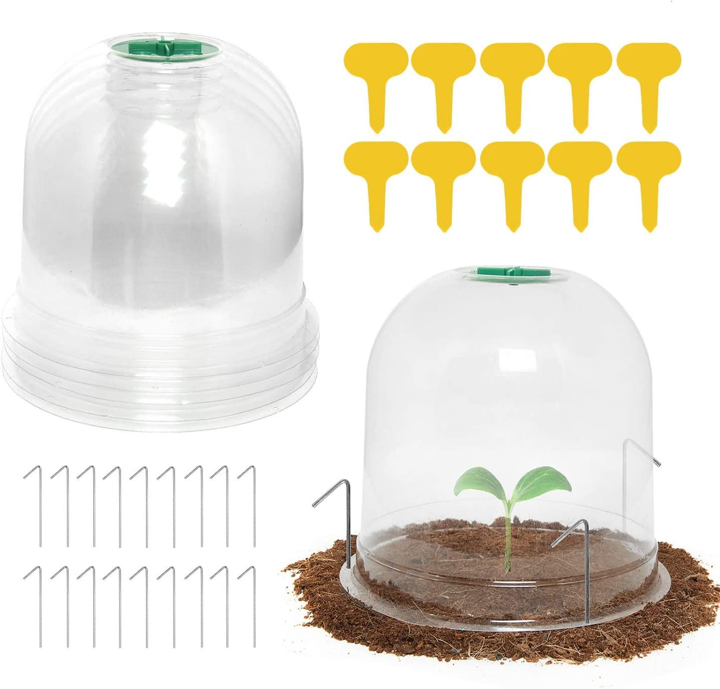 Vumdua Garden Cloche Dome, 6 Pack Plastic Plant Protect Bell Cover Mini Greenhouse with 18 Ground Securing Pegs & 10 Plant Label Outdoor Indoor - Humidity Dome for Seed Starter Pots (7.3