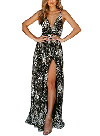70b34ec4f184 FFLMYUHULIU Women's Sexy Strap V Front Backless Solid Glitter Tulle High Split  Prom Evening Party Cocktail Maxi Dress at Amazon Women's Clothing store:
