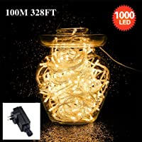 TERSELY String Fairy Lights Indoor AU Plug in (SAA Approved), 100M/1000LED Lamp for Christmas Tree Light Party Wedding Events Garden Low Voltage 31V Warm White, 8 Lighting Modes, Memory Function