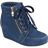 Coshare Women's Fashion Versatile Ankle High Top Lace Up Hidden Heel Wedge Sneakers Booties