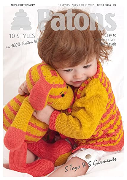 Patons 5 Toys And 5 Garments Babies Knitting Pattern Book 3804