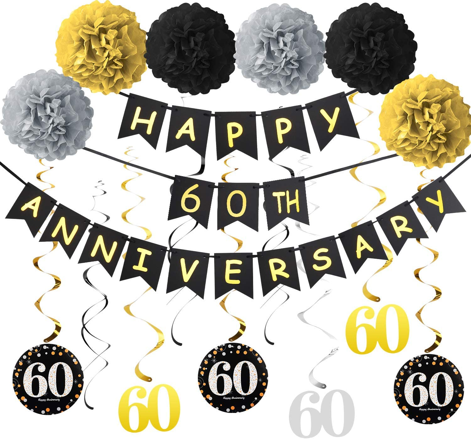 60th Anniversary Decorations Supplies Kit - Gold Glitter Happy 60th Anniversary Banner, 9Pcs Sparkling 60 Hanging Swirl, 6Pcs Poms - for 60th Wedding Anniversary Party Decorations