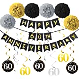 60th Anniversary Celebrating 7x5ft Polyester Photography Background Luxurious Golden Matellic Embeded Diamonds Number Letters Backdrop School Company Opening Wedding Anniversary Shoot Banner