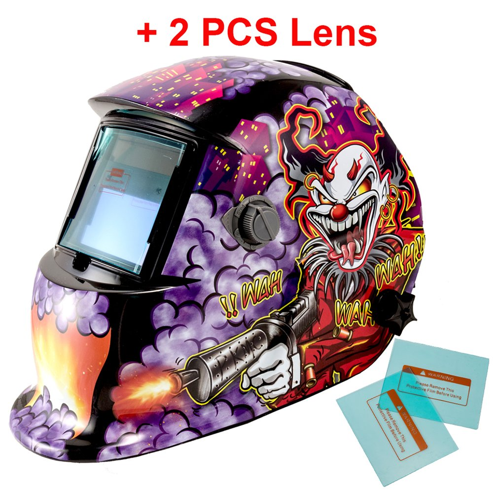 iMeshbean Pro Cool Solar Power Auto Darkening Welding Helmet with Grinding Function & 2 pcs Extra Lens Covers Arc Tig Mig Plasma ANSI Certified Welder #1004 USA by i-mesh-bean