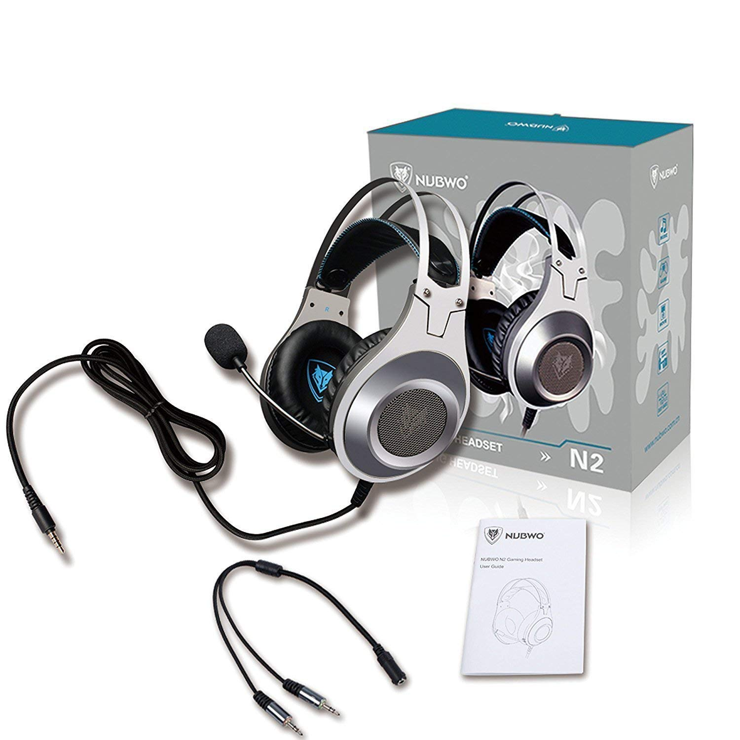 Gaming Headset, NUBWO Wired Gaming Headphones with Microphone and Volume Control for PC/Ps4/Xbox one 1 /Phone/Laptop (Silver) by NUBWO (Image #7)