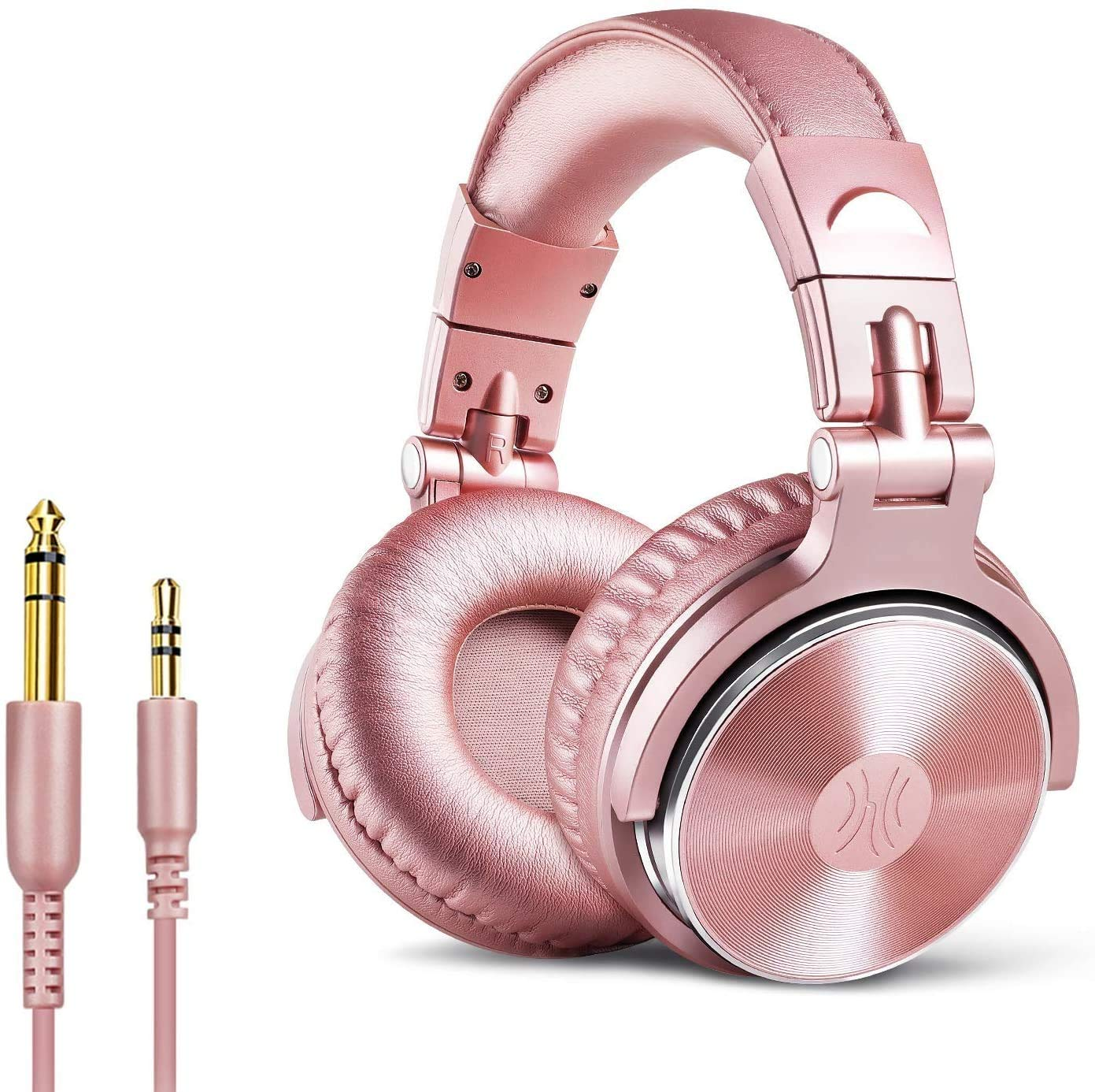 OneOdio Over Ear Headphone Studio Wired Bass Headsets with 50mm Driver, Foldable Lightweight Headphones with Shareport and Mic for DJ Recording Monitoring Mixing Podcast Guitar PC TV (Golden Rose)