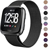 """Milanese Metal Bands Compatible for Fitbit Versa Bands/Versa Lite Edition Bands for Women Men, Replacement Stainless Steel Wristband Accessories Strap (S(5.1""""-7.9""""), Black)"""