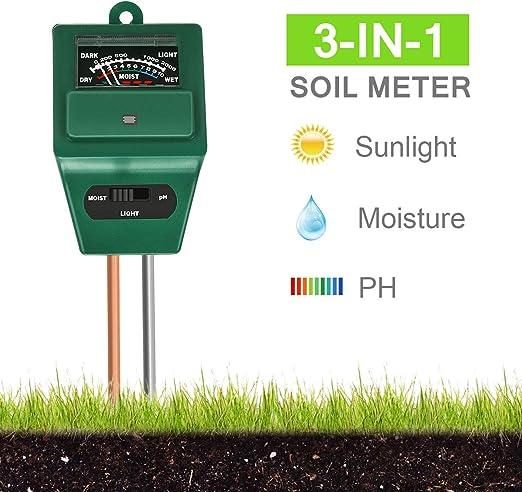 Xddias Medidor de Suelos, medidor de Humedad de Plantas 3/1 / medidor de acidez de luz/pH, higrómetro de Monitor de Agua de Suelo: Amazon.es: Jardín