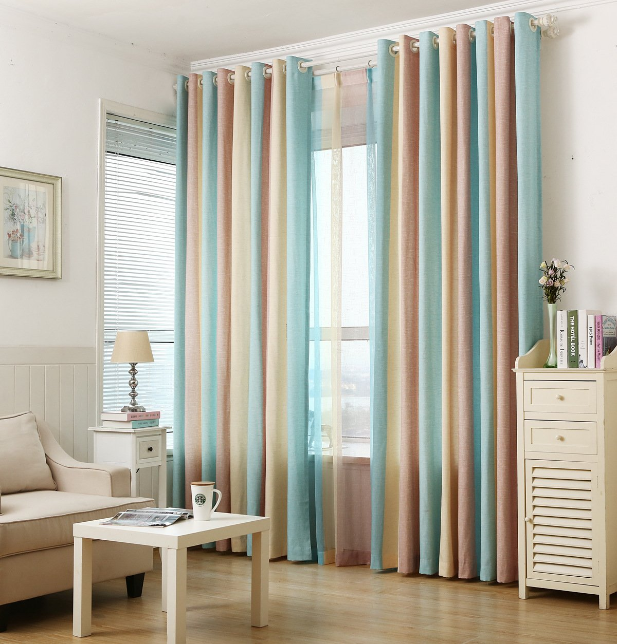 ZWB Fashionable Rod Pocket Striped Window Sheer Curtains with Wide Blue Yellow and Brown Stripe