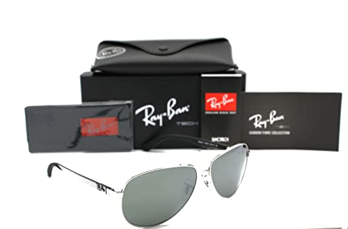 6106d6f07bd RAY BAN AVIATOR RB 8313 003 40 58MM SILVER TECH CARBON FIBRE CRYSTAL GREY  MIRROR  Amazon.ca  Shoes   Handbags