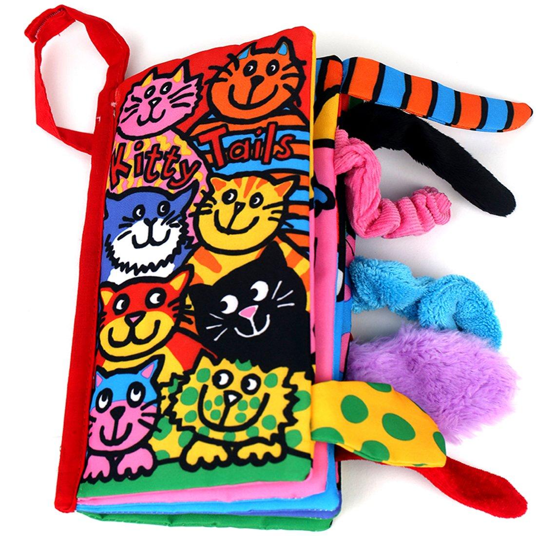 colas animales libro de tela bebé de juguete Desarrollo Libros Aprendizaje y Educación(Kitty tails) weiming inc