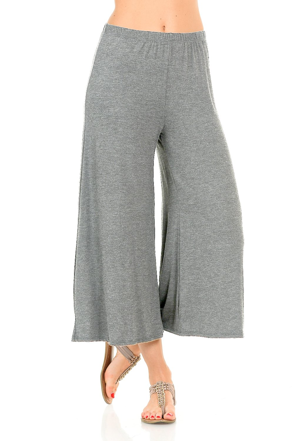 iconic luxe Womens Elastic Waist Jersey Culottes Pants