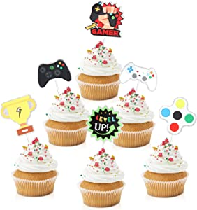18pcs Video Game Cupcake Toppers - Gaming Level Up Party Glitter Controller Cupcake Toppers Supplies - Boys Girls Party Dessert Food Picks Decorations