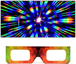 GloFX Paper Cardboard Diffraction Glasses – Geometric Rainbow (10 Pack) Unique Party Favors for Kids