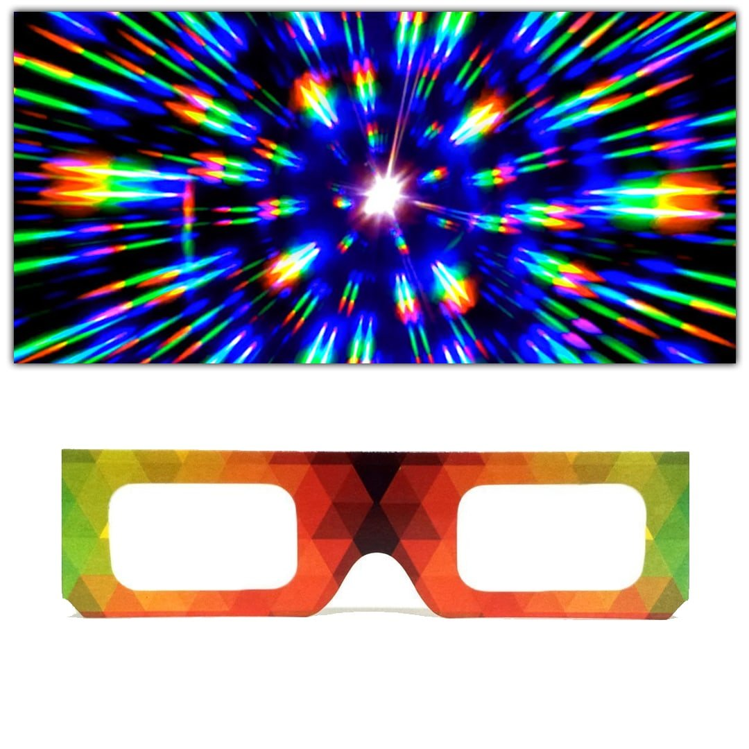 GloFX Paper Cardboard Diffraction Glasses - Geometric Rainbow - 100 Pack