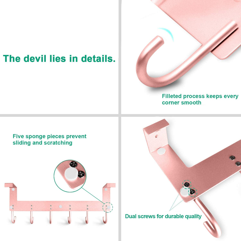 Toallas AcmeTop Perchero de Puerta bolsos Rosa para colgar Abrigos Gorras perchas de ba/ño aluminio 6 Ganchos