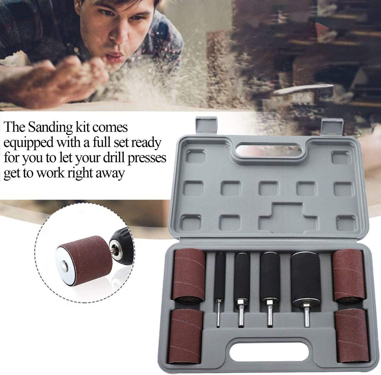 EmNarsissus Sanding Belt Drum Kit 80 120 Grit Sandpaper Long//Short Sander With Spindle Sander Sleeves Rotary Tools for Woodworking