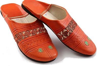 Orientalische Schuhe Babouche Hausschuhe Pantoffel Slipper aus Marokko - Damen Hausschuhe aus Leder, Handarbeit aus Fes
